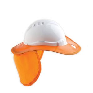 Plastic Hard Hat Brim & Orange Flap