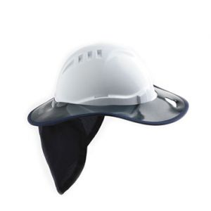 Plastic Hard Hat Brim & Navy Blue Flap